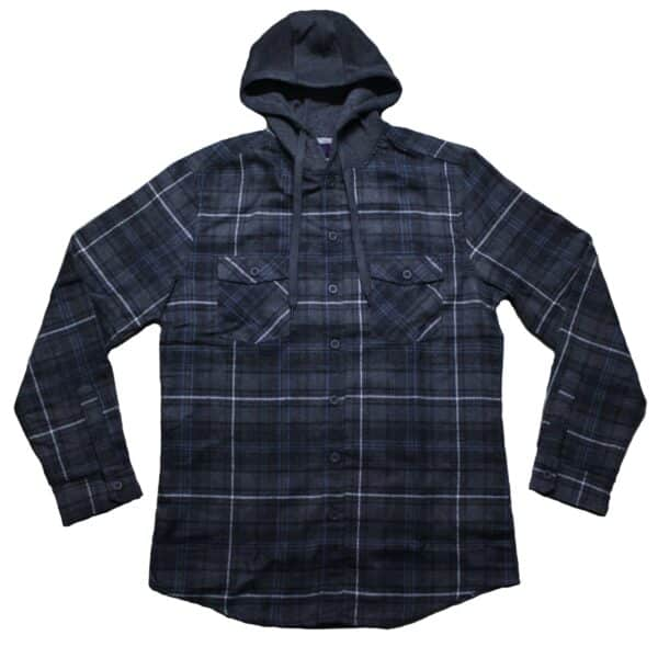 Navy and Gray Hooded Flannel