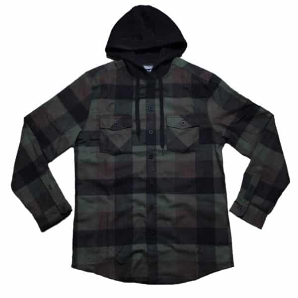 Green and Brown Hooded Flannel