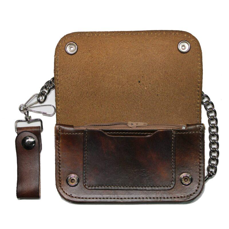 """6"""" California Biker Leather Wallet w/ Chain 1"""