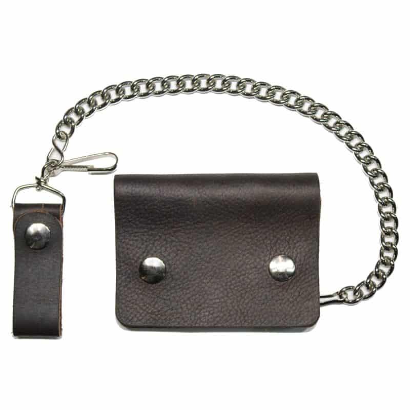 Mini Brown Biker Leather Wallet w/ Chain