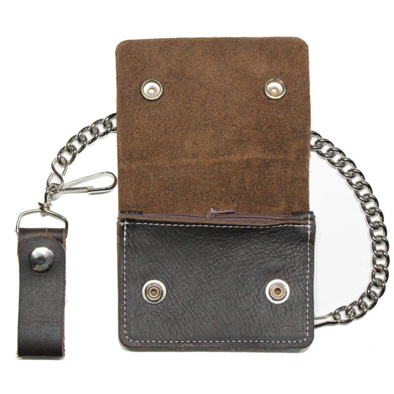 Mini Brown Biker Leather Wallet w/ Chain 1