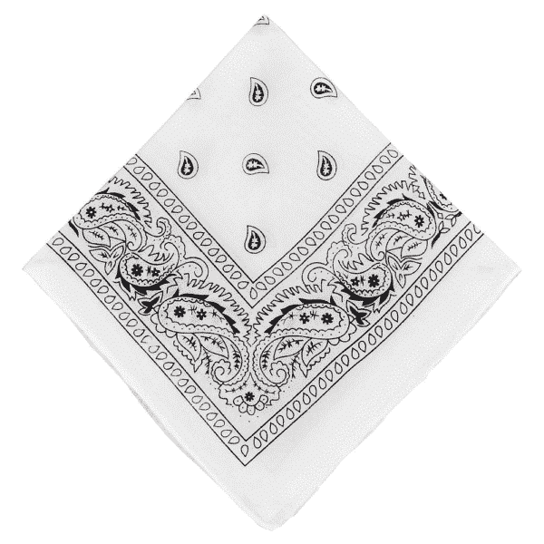 White Paisley Cotton Bandana 21""