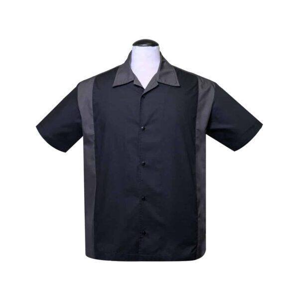 Black and Charcoal Bowling Shirt