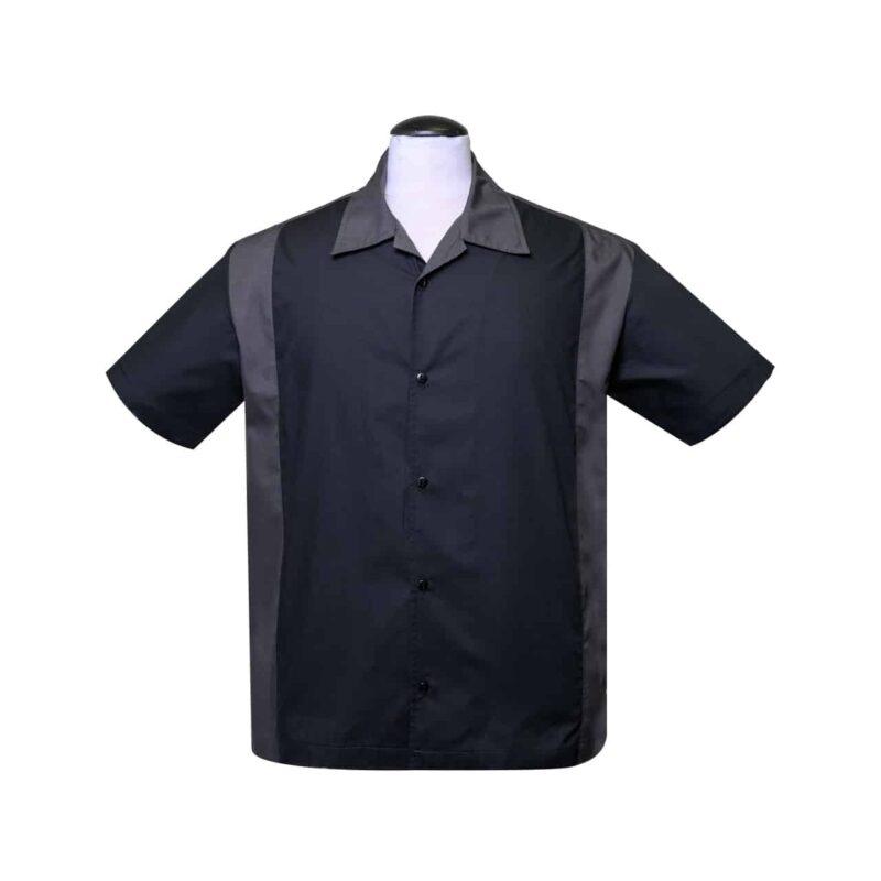Black and Charcoal Bowling Shirt