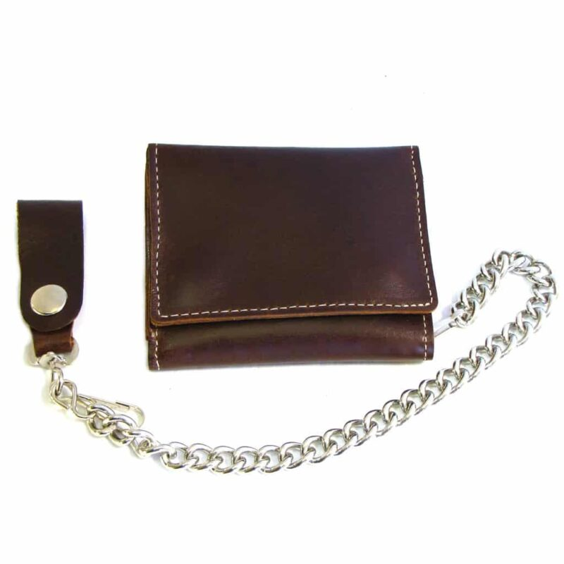 Brown Leather Tri-Fold Wallet w/ Chain