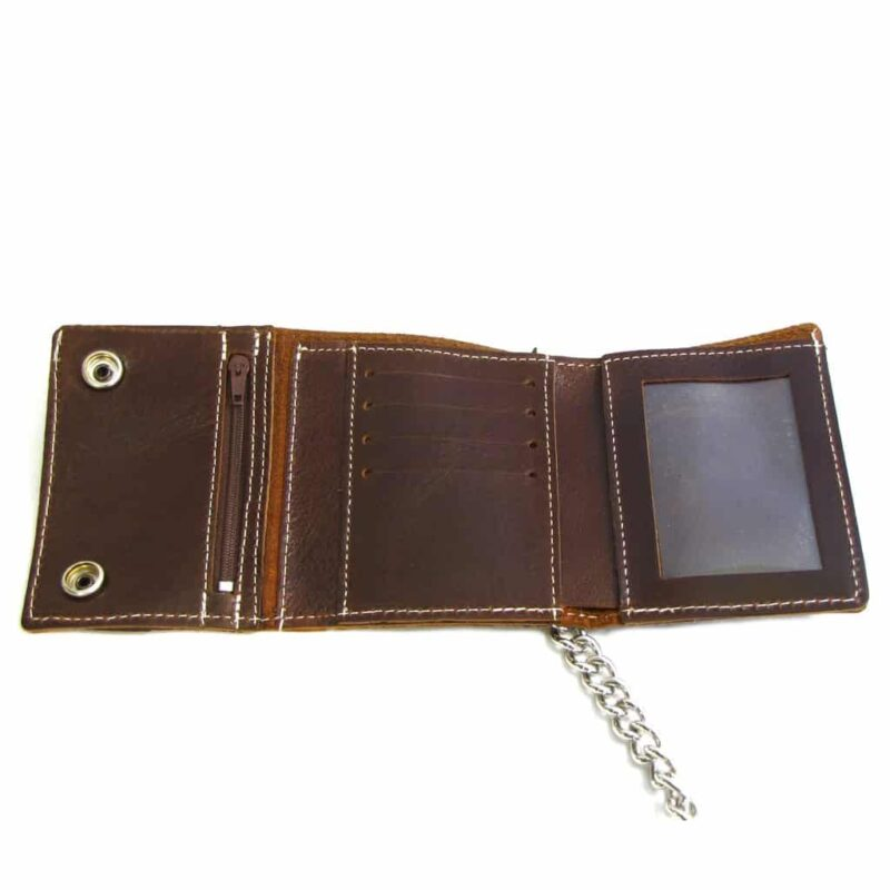 Brown Leather Tri-Fold Wallet w/ Chain 1
