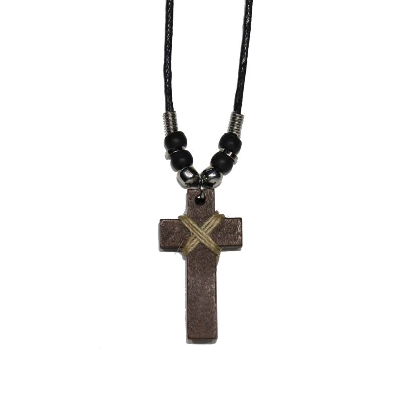 Brown Wood Cross Necklace