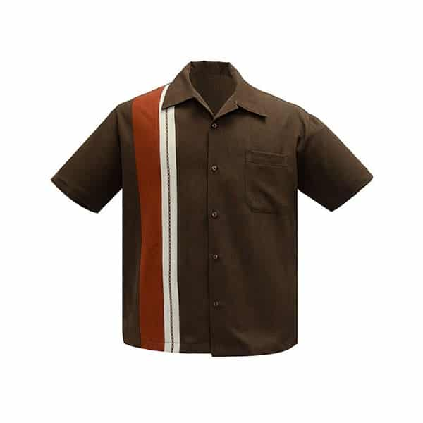 Brown and Rust Bowling Shirt Steady Clothing