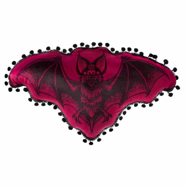 Burgundy Bat Shaped Pillow