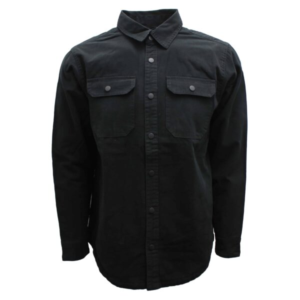 Black Flannel Lined Cotton Shirt