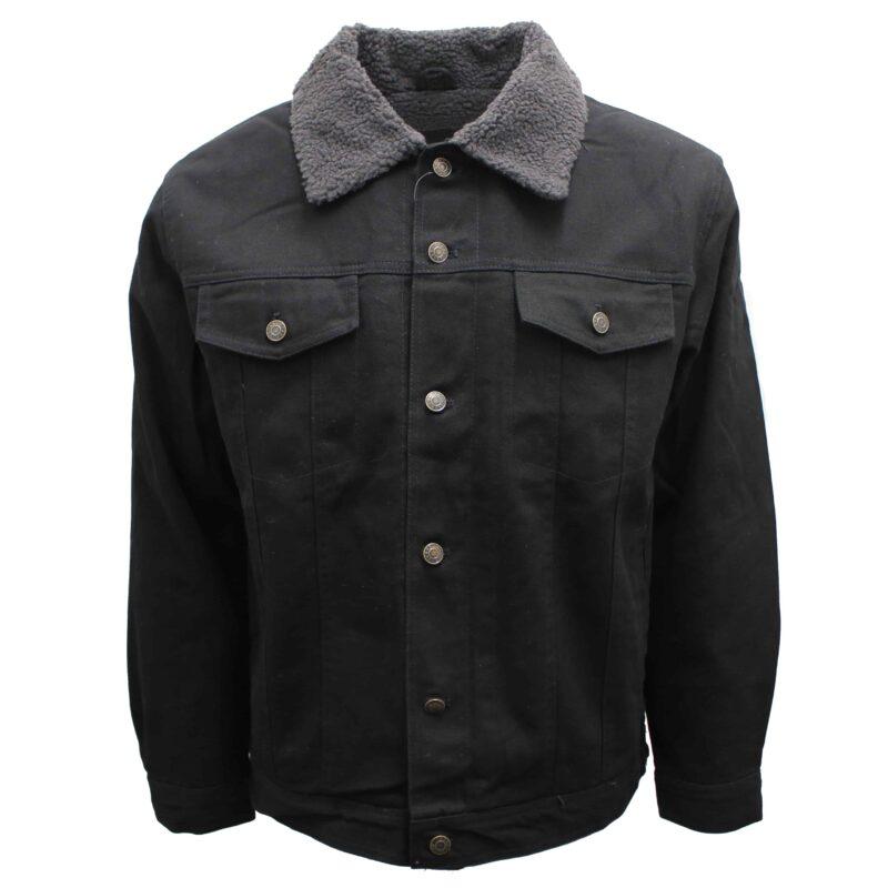 Sherpa Lined Black Denim Jacket