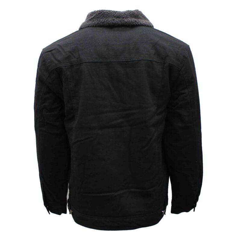 Sherpa Lined Black Denim Jacket 1