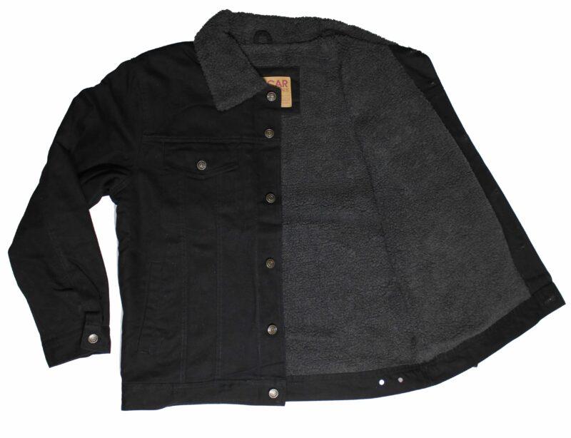 Sherpa Lined Black Denim Jacket 2