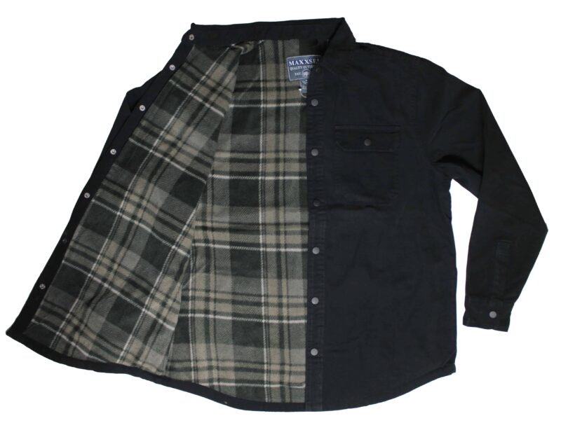 Black Flannel Lined Cotton Shirt 2