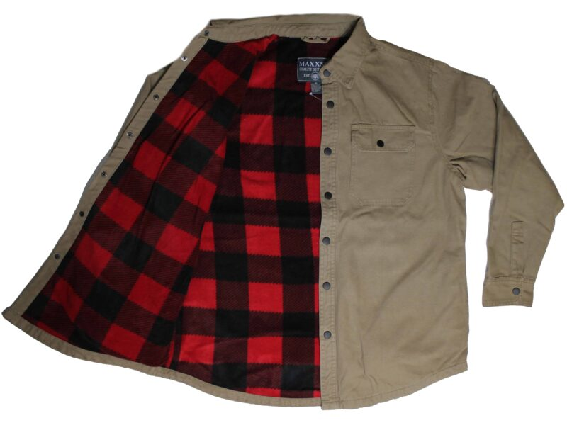 Khaki Flannel Lined Cotton Shirt 2