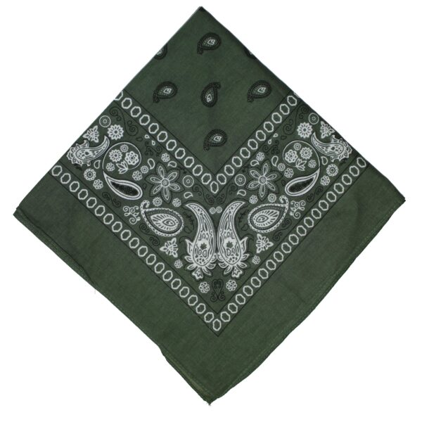 Olive Green Paisley Cotton Bandana