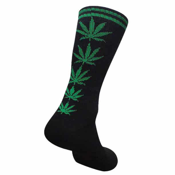 Black Marijuana Crew Socks