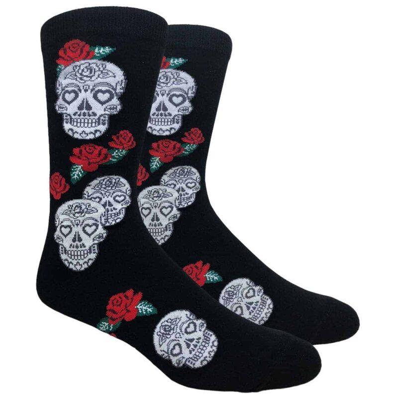 Black Skulls and Roses Crew Socks