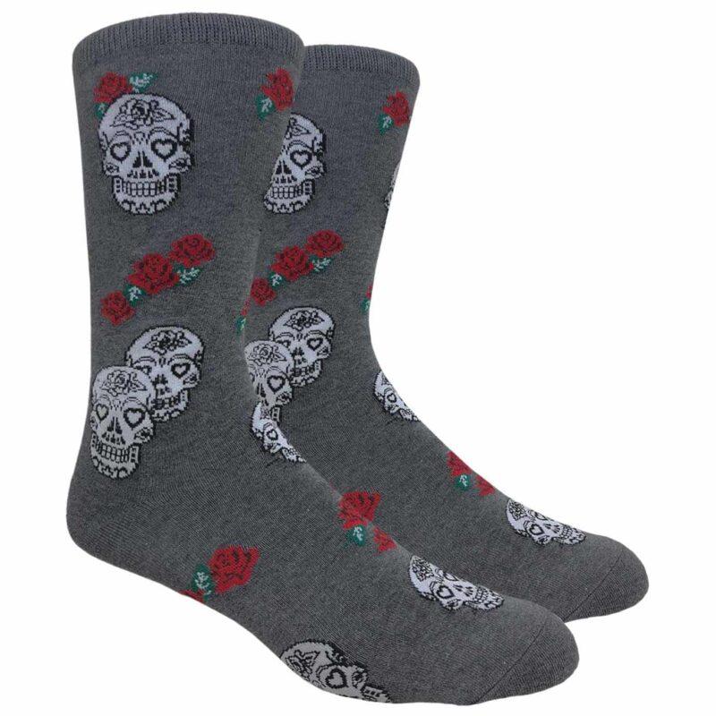 Gray Skulls and Roses Crew Socks