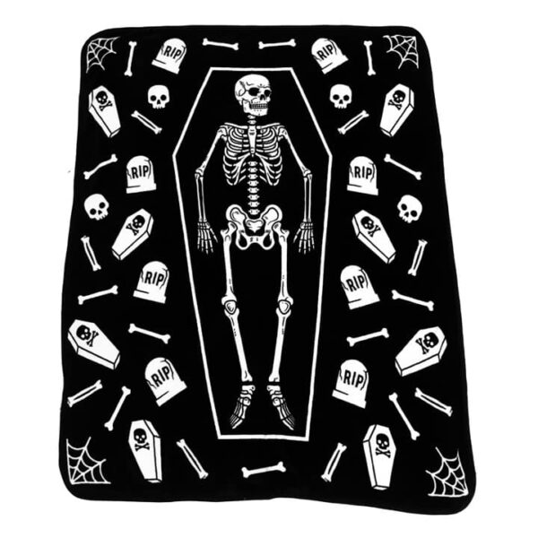 Skeleton Coffin Throw Blanket
