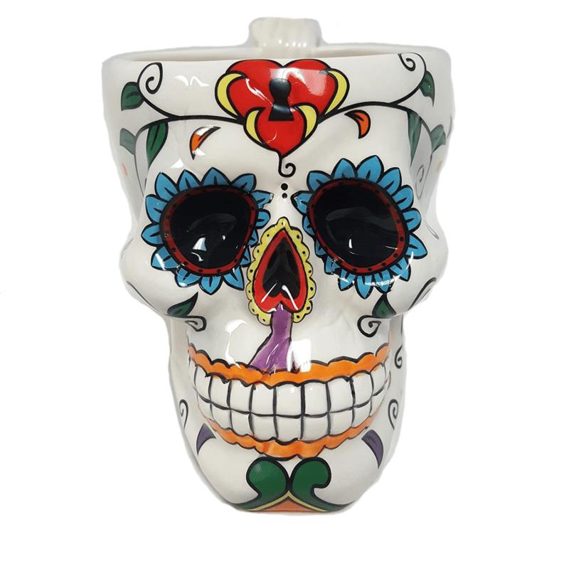 White Ceramic Sugar Skull Mug 1
