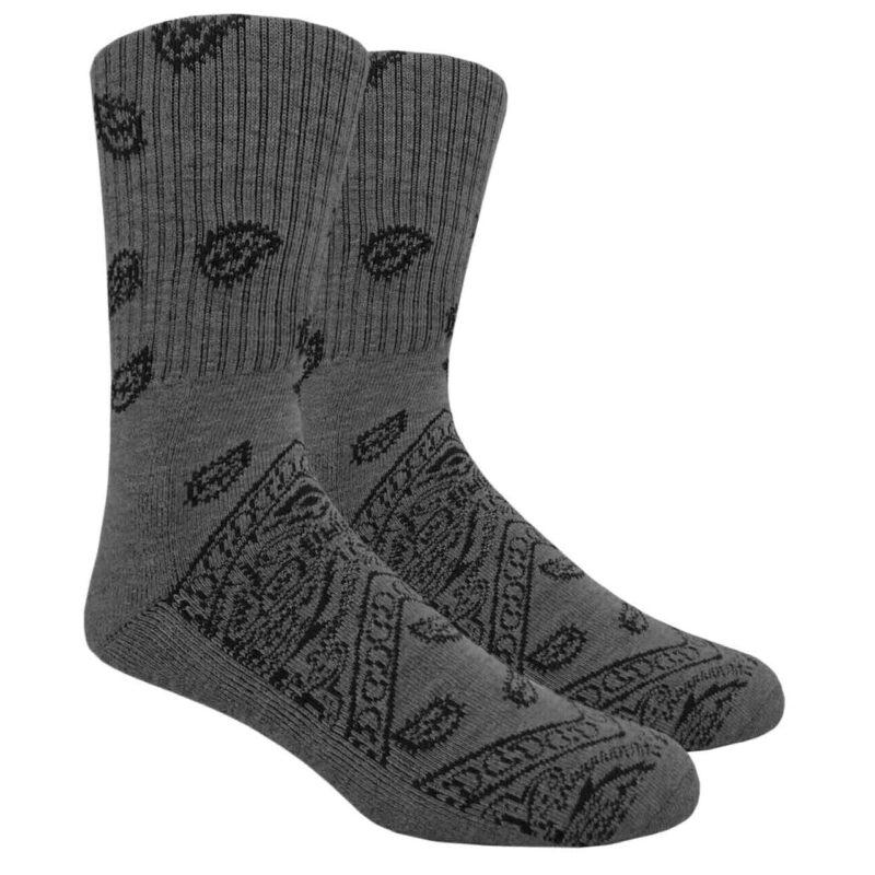 Gray Paisley Crew Socks