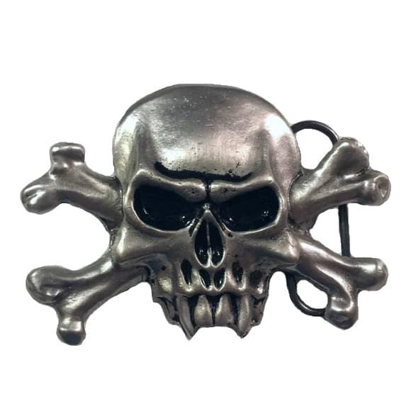 Silver Vampire Skull Belt Buckle