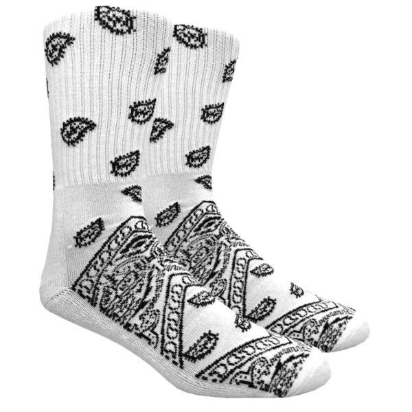 White Paisley Crew Socks