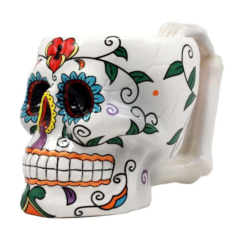 White Ceramic Sugar Skull Mug
