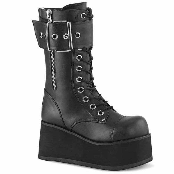 Demonia Platform Buckle Zip Boot Petrol-150