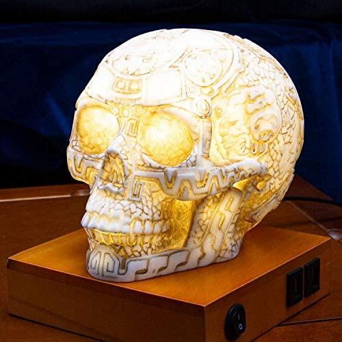 Mesoamerican Aztec Skull Table Lamp w/ USB Charging Ports 1