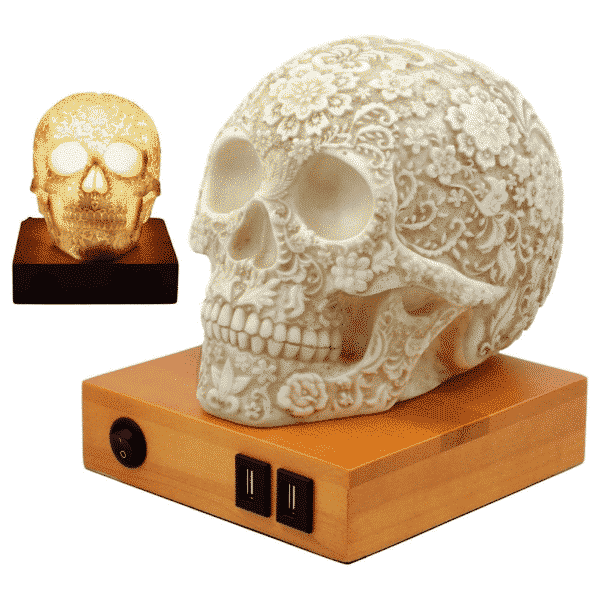 Floral Skull Table Lamp