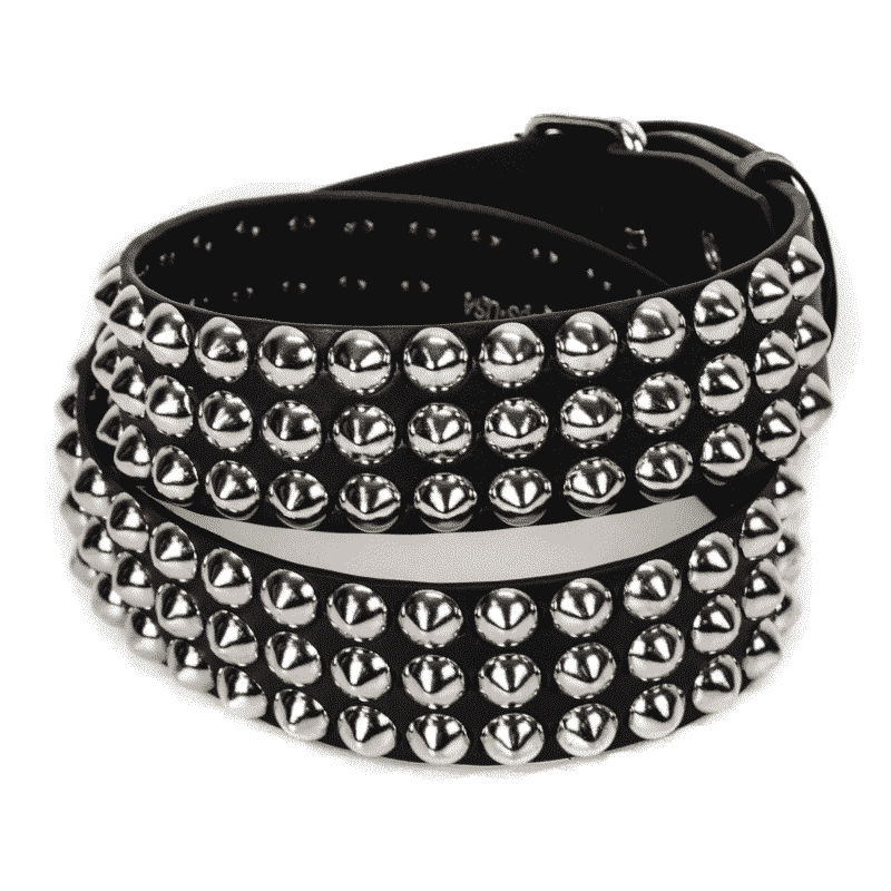 Conical Studded Leather Belt 3 Row 1