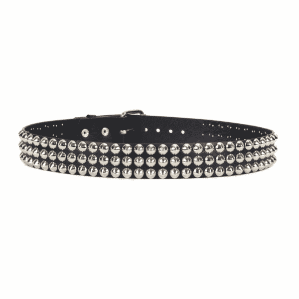 Conical Studded Leather Belt 3 Row