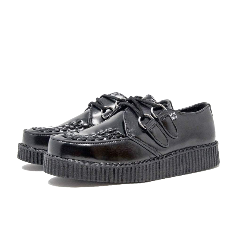 TUK Black Leather Low Creeper