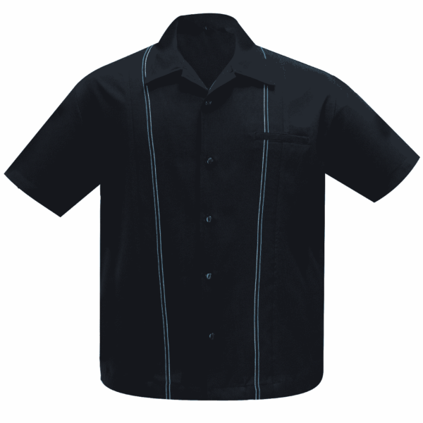 Black and Teal Stitching Bowling Shirt