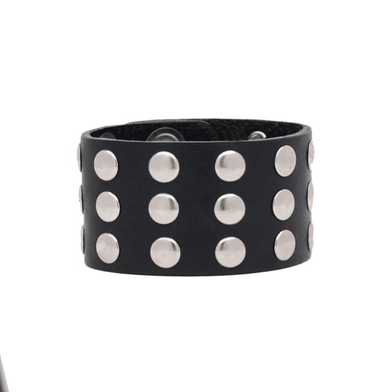 Studded Leather Wristband 3 Row 1