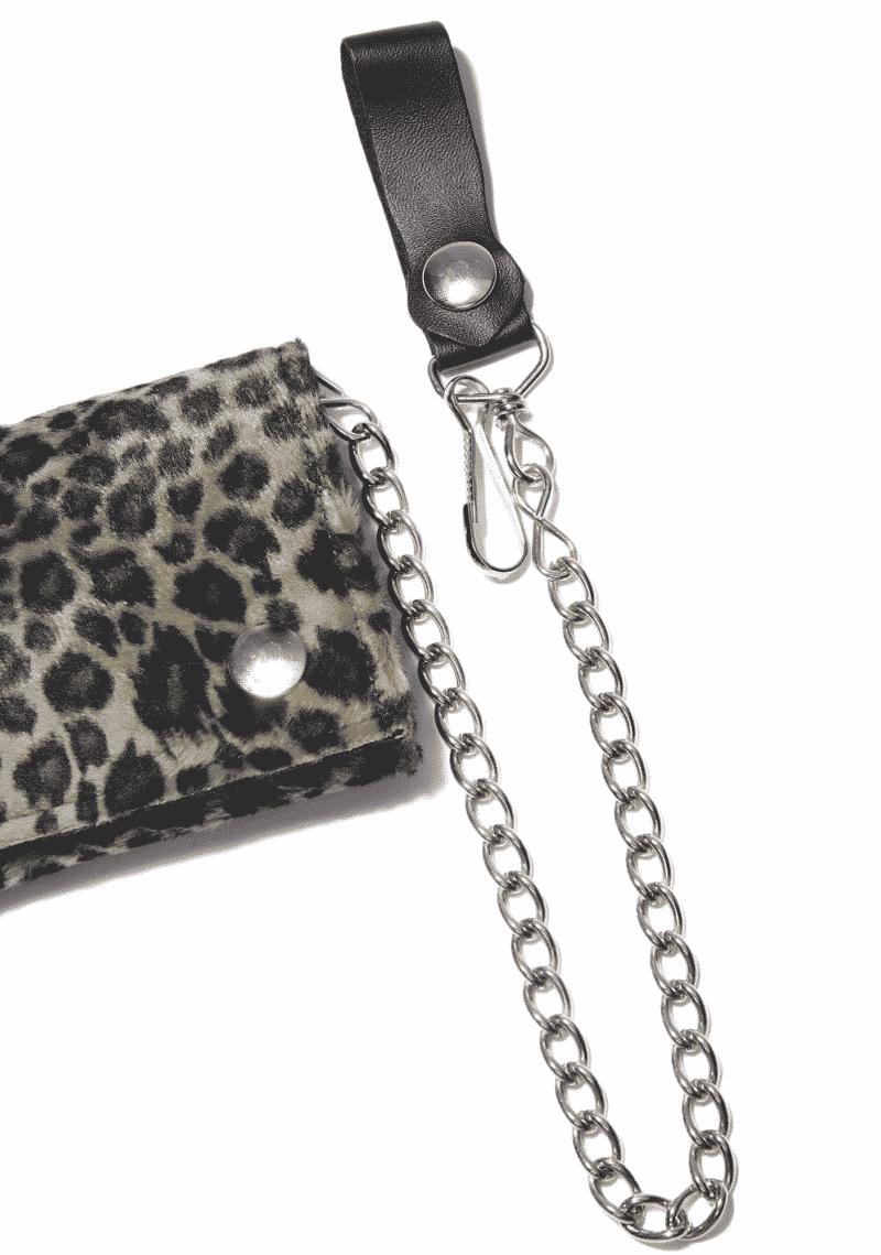 Fuzzy Leopard Tri-Fold Wallet w/ Chain 1