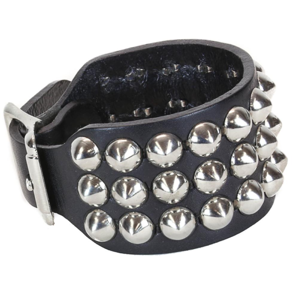 Round Stud Leather Wristband 3 Row