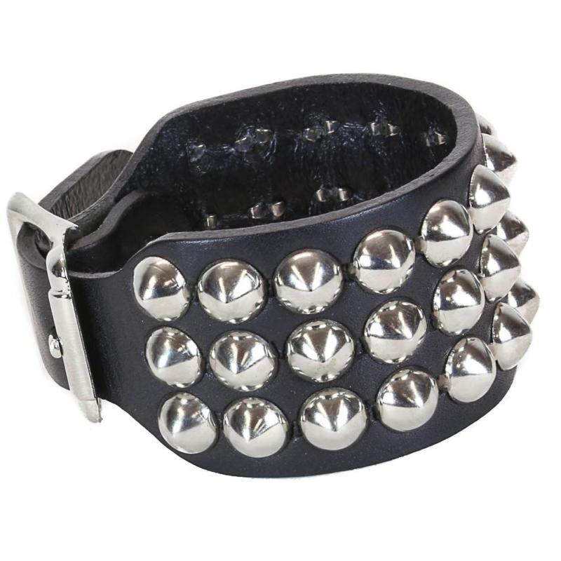 Round Stud Leather Wristband 3 Row