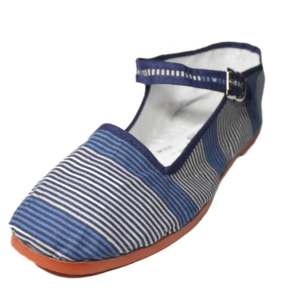Blue Stripe Cotton Mary Jane Shoes