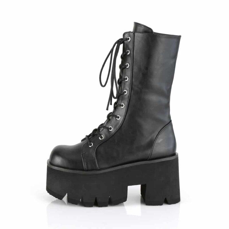 Demonia Plain Platform Leather Boot Ashes-105 2