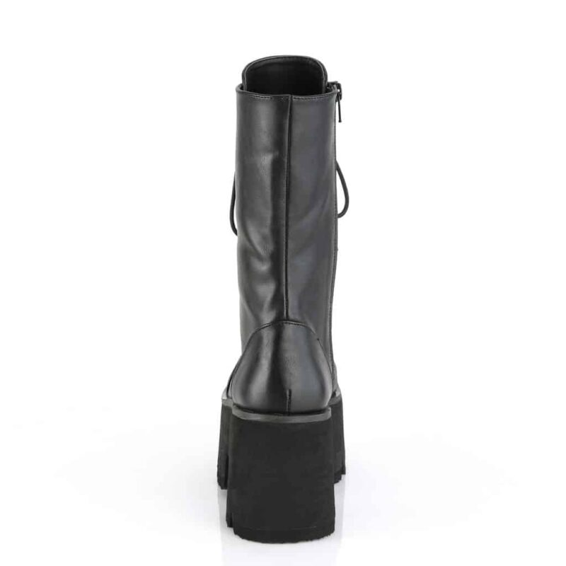 Demonia Plain Platform Leather Boot Ashes-105 3