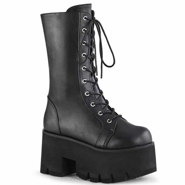 Demonia Plain Platform Leather Boot Ashes-105
