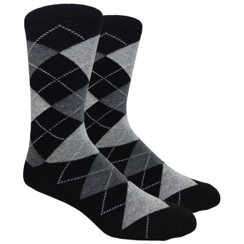 Black Argyle Crew Socks