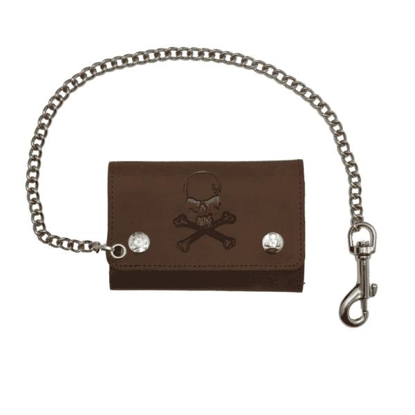 Brown Skull Crossbones Tri-Fold Wallet w/ Chain