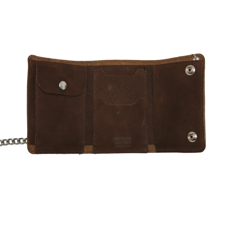 Brown Skull Crossbones Tri-Fold Wallet w/ Chain 1