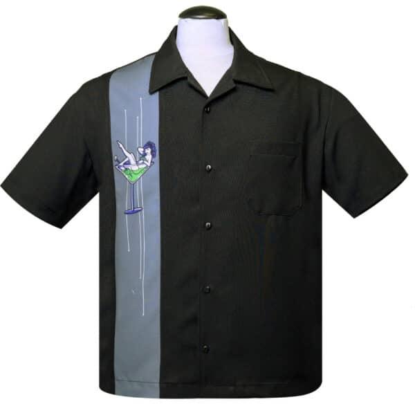 Martini Girl Black Bowling Shirt