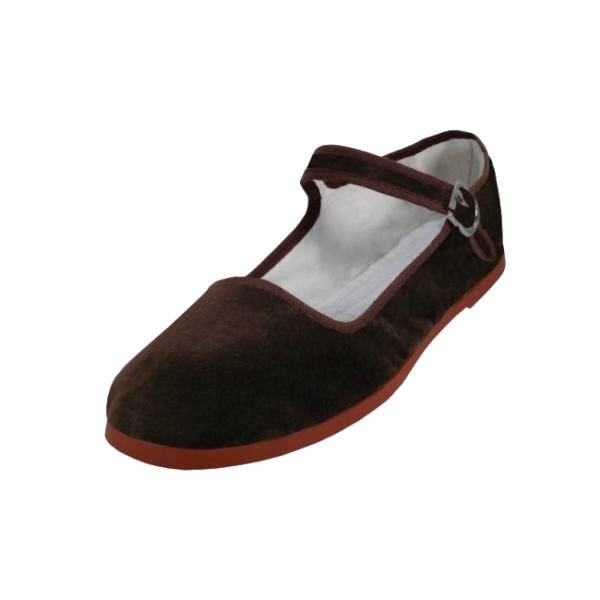 Brown Velvet Mary Jane Shoes