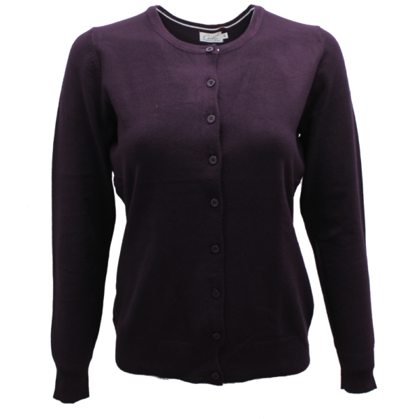 Women's Dark Purple Knit Cardigan Sweater